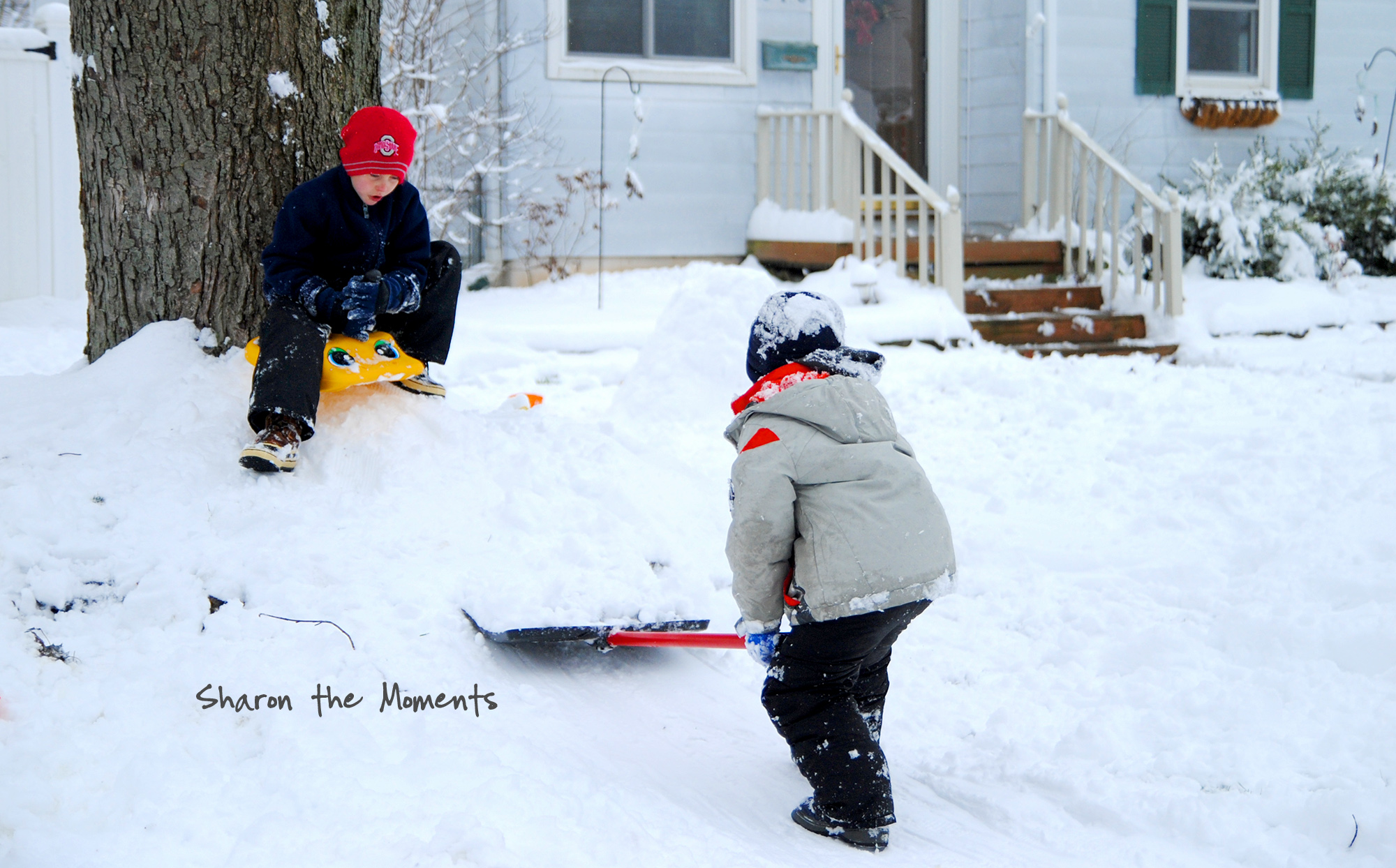 Snow Day for Making Mini Sledding Hills and Snow Angels|Sharon the Moments blog