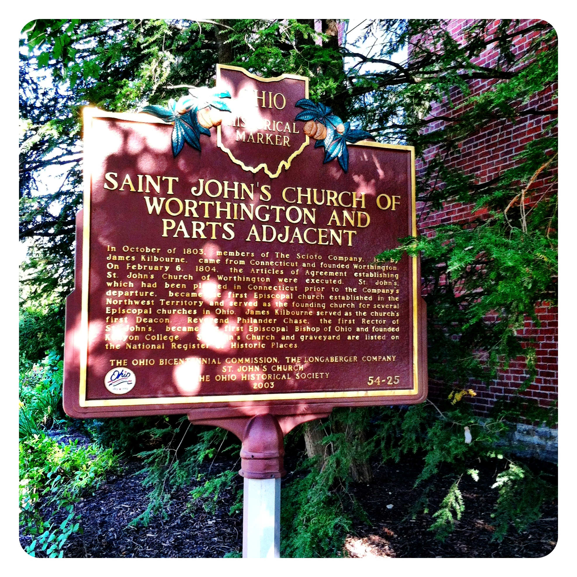 Remarkable Ohio ... Ohio Historical Marker #54-25 Saint John's Church of Worthington and Parts Adjacent